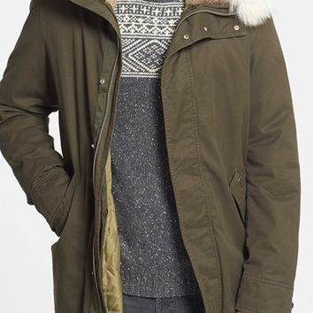 Men's Woolrich Cotton Parka with Genuine Rabbit Fur Hood