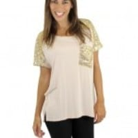 Blush And Gold Sequin Top - B40