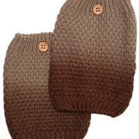 Women's Two Tone Light Brown / Dark Brown Ombre Button Boot Cuffs - Popcorn Pattern Knit Boot Sock Topper, gift, 2 Color Boot Cuffs