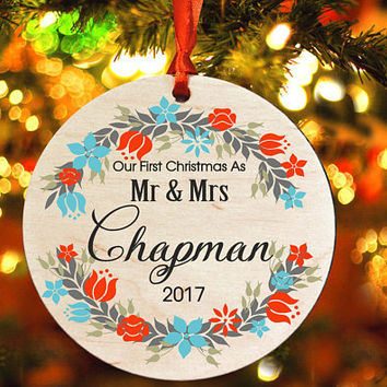 Our First Christmas as Mr & Mrs ,Personalized christmas tree ornament, tree ornament , Wedding Ornament, christmas gift (Ch10)