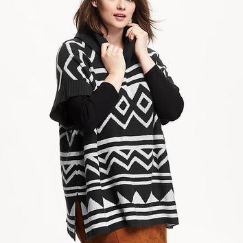 Old Navy Womens Plus Patterned Cowl Neck Poncho