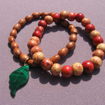 Wood Stretch Bracelets with Leaf Charm