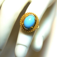 BLACK FRIDAY SALE Vintage Turquoise Oval Glass Ring Adjustable Gold Tone