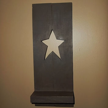 Primitive Star Shutter Shelf, Rustic Country Home Decor, Primitive Shelf, Home Decor