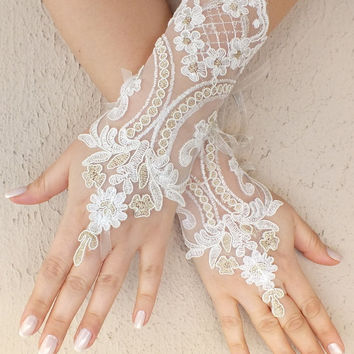 Free ship, Ivory   gold lace Wedding gloves, bridal gloves, fingerless lace gloves,handmade