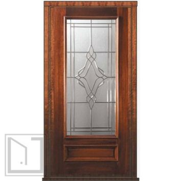 Pre-hung Entry Single Door 80 Wood Mahogany Heritage 3/4 Lite Glass