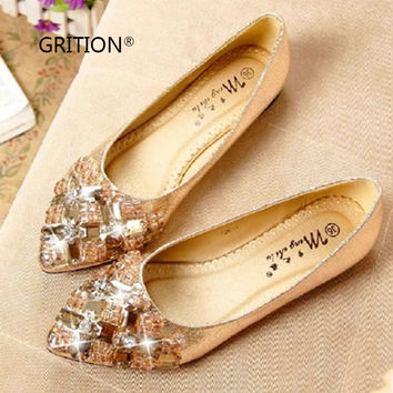 GRITION New Crystal Shoes Flats for Women Gold Black Handmade Woman Party Prom Shoes
