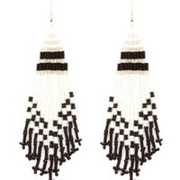 Beaded Fringe Chandelier Earrings by Charlotte Russe - Silver