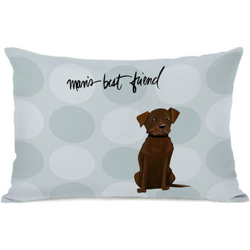 """Pup Words Chocolate Lab"" Indoor Throw Pillow by April Heather Art, 14""x20"""