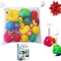 (50% Off) Premium Bath Toy Organizer + FREE Bath time Activities Ebook + FREE Heavy Duty Suction Hooks, Large Mesh Net Storage Bag Making Bathtime Safe & Fun for Baby Boys and Girls (White) 100%