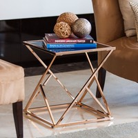 DanyaB Square Rose Gold End Table with Black Glasstop