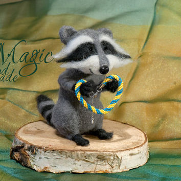 Felted raccoon, felt animal, funny creature, wire paws