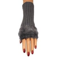 Luxury Divas Gray Faux Fur Trimmed Fingerless Ribbed Knit Gloves