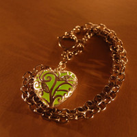 Glow in the Dark Jewelry - Green Glowing Necklace - Pendant - Gifts for Her - Birthday Gift - Heart