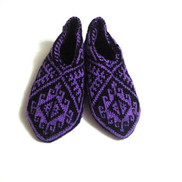 knit slippers, Purple and Black Traditional Turkish Hand Knit Slippers Socks for men and women, home shoes, womens Socks Slippers, geometric