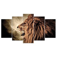 Roaring Wild Lion Animal Wall Art Canvas 5 Pieces Panel Print for Living Room