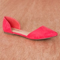 Breckelles Pop Charts Faux Leather Pointed Toe D'Orsay Flats Dolley-43 - Grapefruit