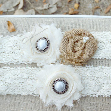 Burlap and Lace Wedding Garter Set, Burlap Garter. Ivory Rustic Vintage Garter Belt, Country Wedding Accessories, Rustic Bridal accessory