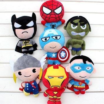 Lovely The Avengers Superheros Toys Plush Spiderman Captain America Thor Ironman Superman Batman Toys 20cm
