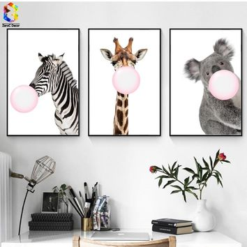 ZeroC Kawaii Bubble Painting of Giraffe Canvas Art Print Poster, Zebra Wall Picture for Living Room Decoration Koala Home decor