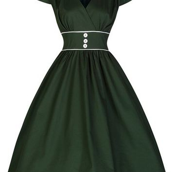 Lindy Bop 'Polly' Carefree and Cute Vintage 50's Retro Style Swing Dress (S, Bottle Green)