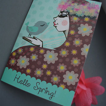 Hello Spring Postcard, Greeting gift card, Hand drawn, Girl with Spring Flowers and flower headband and spring bird, Mint and Lilac, dreamy