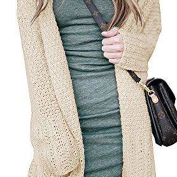Imily Bela Women's Long Sleeve Tassel Hem Knited Sweater Chunky Cardigan Outwear