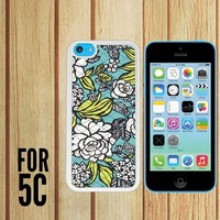 Blue Vera Bradley Pattern Custom made Case/Cover/skin FOR Apple iPhone 5c - White - Rubber Case