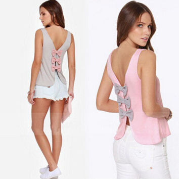 Knit Vest Butterfly Backless Bottoming Shirt [10425667399]