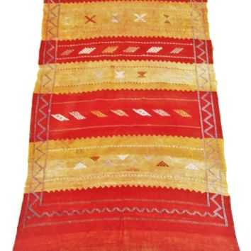 Moroccan Rugs & Textiles - Sabra Kilim Cactus Silk - Red Yellow 56 x 33 inches