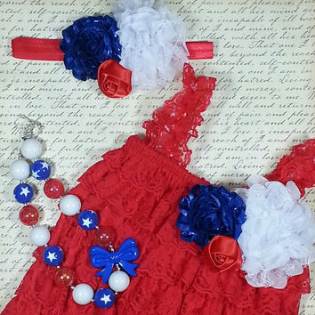 4th of July Romper, July 4th Outfit, Lace Romper Set, Smash Cake Outfit, Baby Lace Romper, Lace Romper Outfit, Photo Prop, Birthday Outfit,