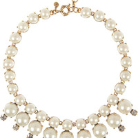 J.Crew - Royal gold-tone, faux pearl and cubic zirconia necklace