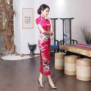 Pink, Black, Blue, Purple, White Long Slit Floral Collection Long Cheongsam One-piece Chinese Qipao Dress