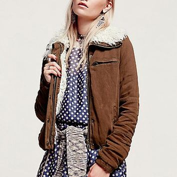 Free People Womens Extreme Sherpa Collar Jacket