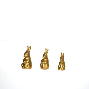 Vintage Brass Rabbit Brass Bunny Brass Bunny Rabbit Set of 3 Brass Rabbits Set of Graduating Rabbits Bunny Rabbit Rabbit Figurines