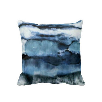 "Abstract Shibori Throw Pillow Cover, Japanese Navy/Ocean Blue & White Print 16 or 20"" Ombre Watercolor Printed Fabric Pillows or Covers"