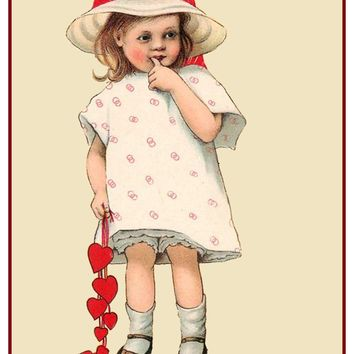 Vintage Little Girl Hearts Love Counted Cross Stitch or Counted Needlepoint Pattern