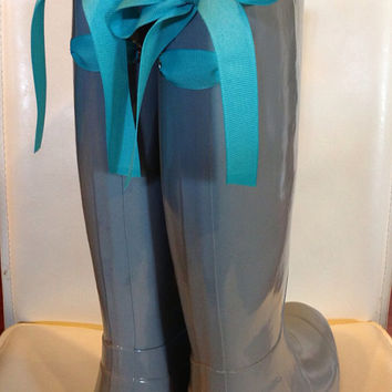 Gray Gloss Rain Boot with Custom Bow
