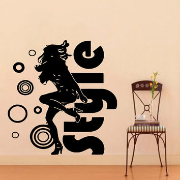 Wall Vinyl Decal Sticker Style Girl Dancing Beauty Saloon Art Design Room Nice Picture Decor Hall Wall Chu1334