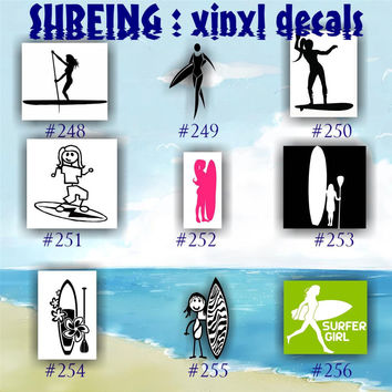 SURFING vinyl decals - 248-256 - car window sticker - surfer decal - custom vinyl decal - personalized vinyl sticker