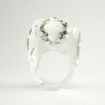 Clear Cubic Zirconia Ring, Clear Resin Ring with a Large Round Diamond Shaped Zirconia