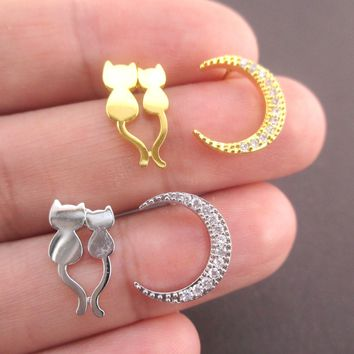 Cats in Love Crescent Moon Shaped Stud Earrings in Gold or Silver