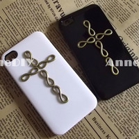cross metal iPhone case, infinity iPhone 5 case, iPhone 4s case with cross, handmade iPhone 4 cases, gift case