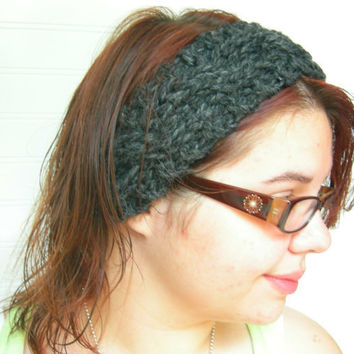 Charcoal Grey Chunky Knit Headband -Ear Warmer-City Style
