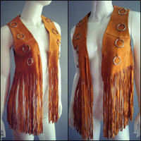 Vintage 60s 70s Suede FRINGE Vest leather Coat Ringe hippie Jacket Festival Gypsy Shawl Free People Boho Coachella