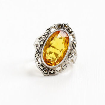 Antique Art Deco Sterling Silver Marcasite & Simulated Citrine Ring - 1920s 1930s Size 4 Yellow Orange Glass Stone Statement Jewelry