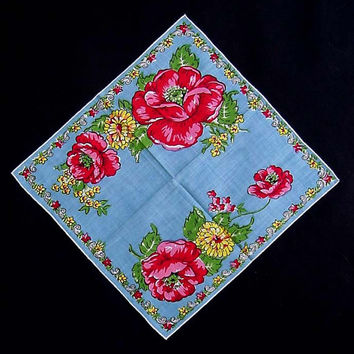 1940's Hankie Peonies And Dahlias Handkerchief Blue Background 12 Inches By 12 1/2 Inches Cotton Hanky Peony Floral Mid Century Kitsch