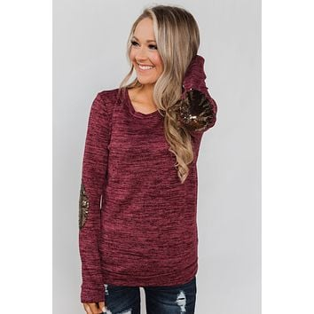 Just Enough Sequin Elbow Patch Sweater- Plum