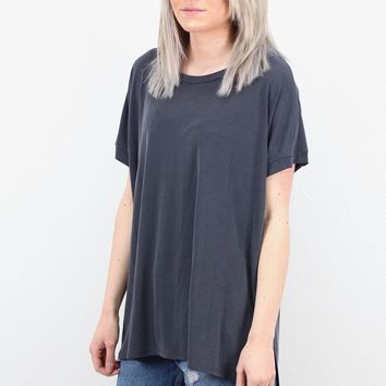 Comfy Side Slit Modal Short Sleeve Basic {Charcoal}