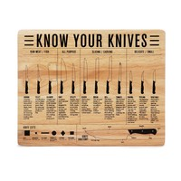 Know Your Knives Cutting Board | Kitchen Knife Cutting Board